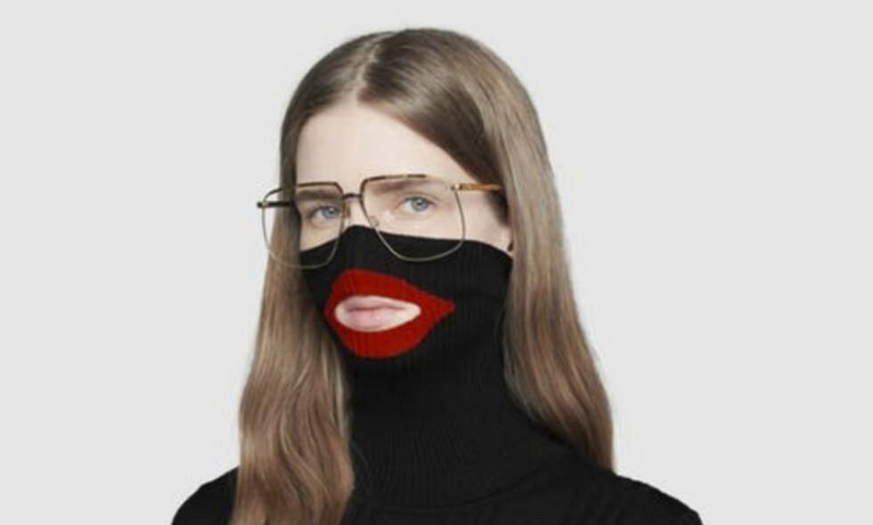 TRUKKET FRA BUTIKKENE: Motehuset Gucci har sett seg nødt til å trekke denne genseren fra markedet etter anklager om at den er rasistisk. Her ser man genseren på butikkens nettside. Foto: NTB Scanpix