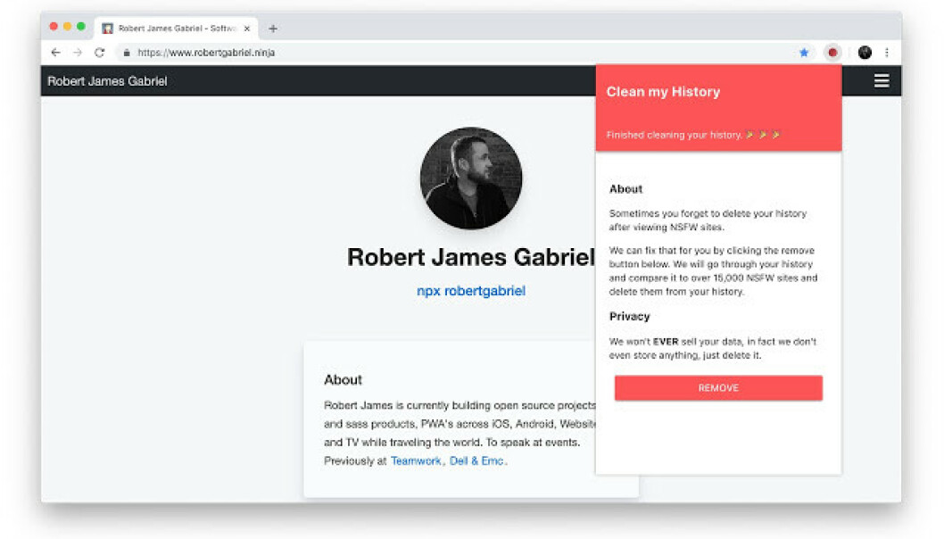 Sletter alle «voksen-nettsteder» fra historikken med ett klikk