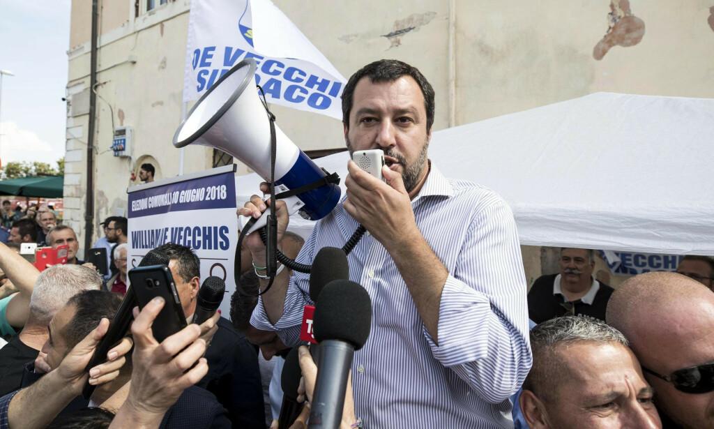 JORDSKJELV: Valget til Europaparlamentet skjer i mai og kan resultere i et politisk jordskjelv der nasjonalister og ytre høyre får stor innflytelse. Her, Matteo Salvini. Foto: NTB Scanpix