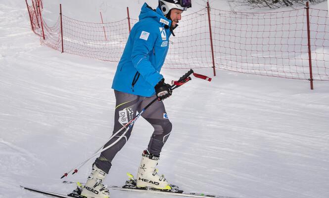 SISTE TRENING: Aksel Lund Svindal testet ut løypa fredag formiddag. Han ble nummer ti på den siste treningen før lørdagens renn. Foto: Hans Arne Vedlog / Dagbldet