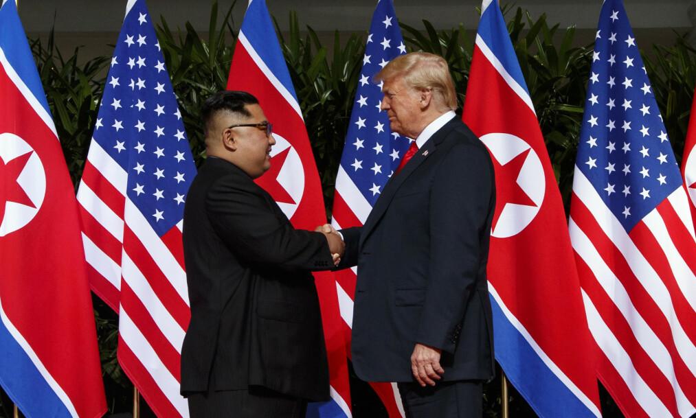 <strong>NYTT MØTE:</strong> Det er klart for nytt toppmøte mellom Donald Trump og Kim Jong-un i Hanoi i slutten av februar. Foto: AP Photo / Evan Vucci / NTB scanpix
