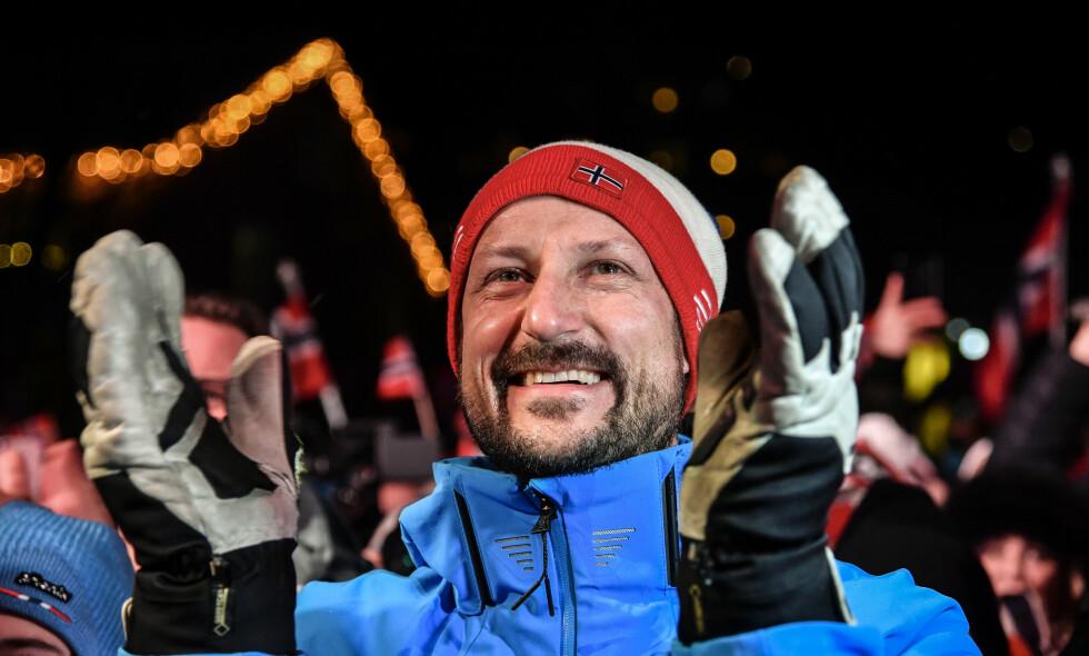 FEIRET SVINDAL: Kronprins Haakon er tilstede under VM i Åre. Han var i ekstase etter Kjetil Jansrud og Aksel Lund Svindals fantastiske løp lørdag, Foto: NTB scanpix