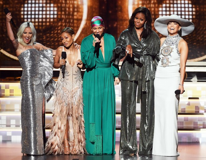 Lady Gaga, Jada Pinkett Smith, Alicia Keys, Michelle Obama og Jennifer Lopez. Foto: Scanpix