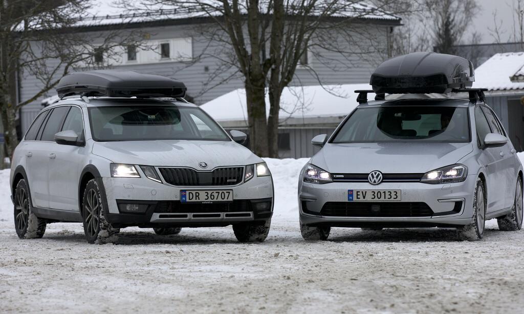 SKIBOKS PÅ TAKET: NAF har testet hvordan forbruket er med takboks. For elbilen var økningen desidert størst.. Foto: NAF