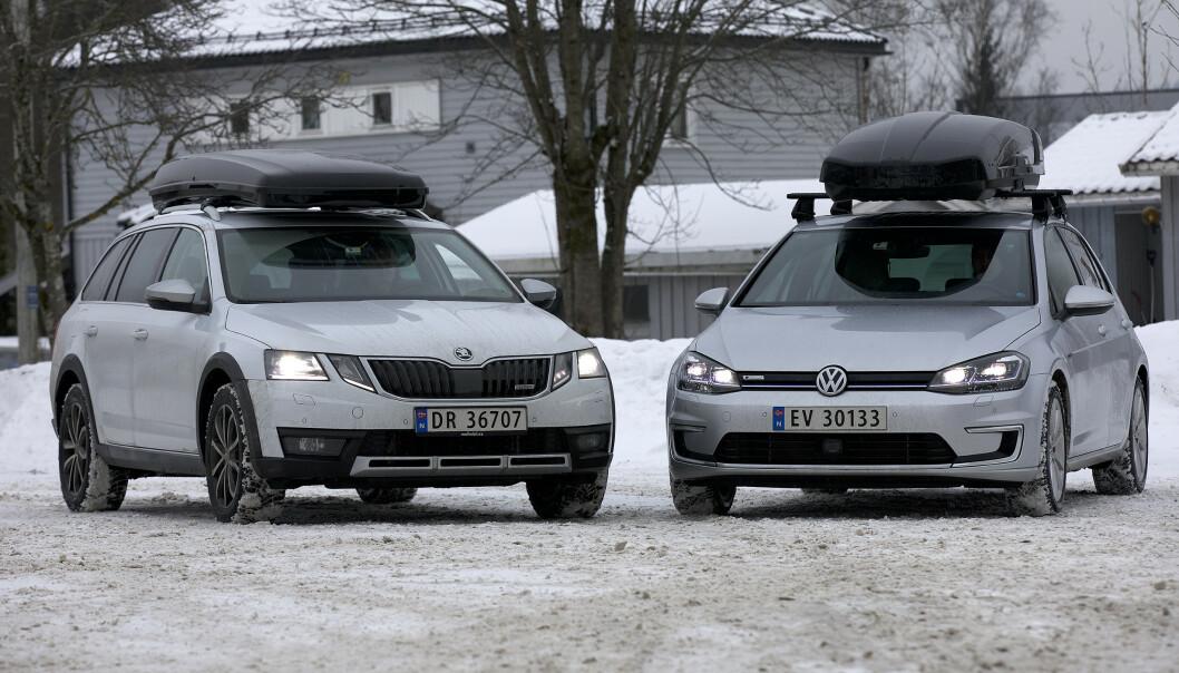 <strong>SKIBOKS PÅ TAKET:</strong> NAF har testet hvordan forbruket er med takboks. For elbilen var økningen desidert størst.. Foto: NAF