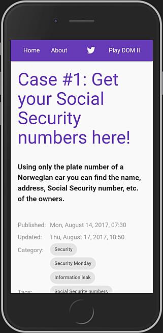 Bloggen starta med dette innlegget, fra august 2017, om data fra Tryg-appen. 📺: blog.roysolberg.com