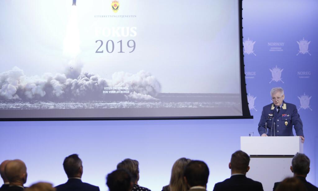 2019: Etterretningssjef Morten Haga Lunde presenterte mandag E-tjenestens åpne vurdering. Foto: Ole Berg-Rusten / NTB scanpix