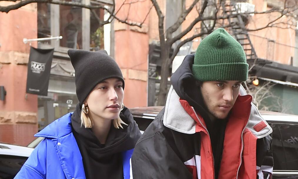 <strong>NYGIFTE:</strong> I høst overrasket Justin Bieber og Hailey Baldwin alle da det ble kjent at de hadde gitt hverandre sine ja i en hemmelig seremoni. Foto: NTB Scanpix