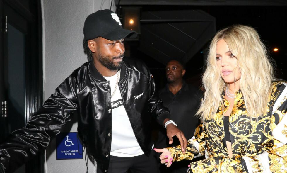 TURBULENT: Nok en gang ser det ut til at forholdet mellom Khloé Kardashian og Tristan Thompson er på tynn is. Foto: NTB Scanpix