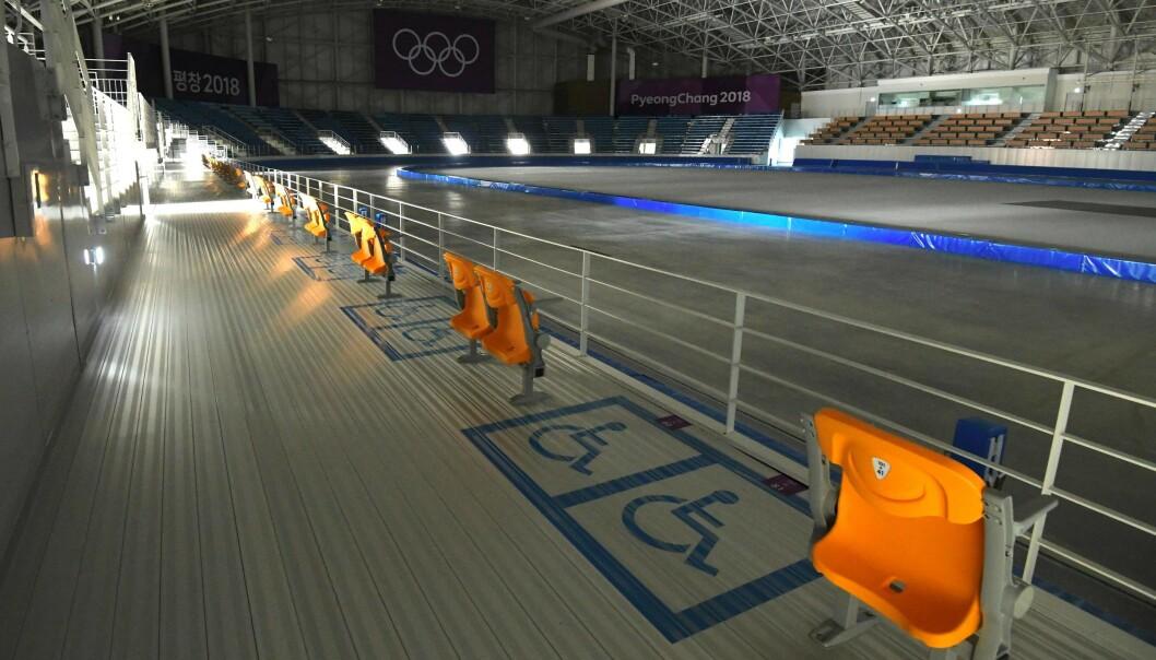 LITE BRUKT: Arenaen for hurtigløp på skøyter i OL: Foto: Jung Yeon-je / AFP