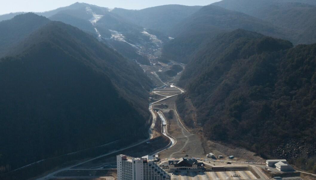 <strong>ETT ÅR ETTER:</strong>I fjor ble det kjørt OL-utfor ved Jeongseon Alpine Centre. Ett år seinere er det lite som minner om toppidrett, vintersport og idylliske OL-bilder. Foto: Yelim LEE / AFP
