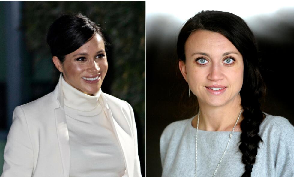 ARTIG SPØK: Camilla Läckberg får folk til å le av humoristisk bilde på Instagram der hun hevder hertuginne Meghan har stjålet stilen hennes. Foto: NTB Scanpix