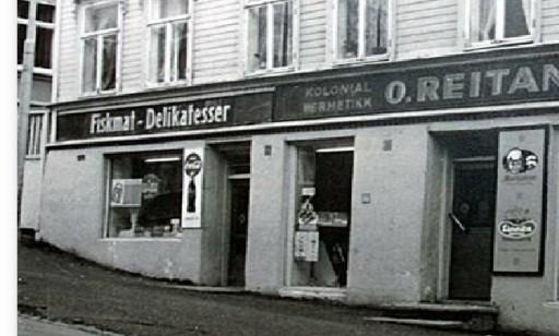 O. Reitan, kolonial og hermetikk i Trondheim, som Odd Reitans far drev. Arkivfoto: Reitan-gruppen
