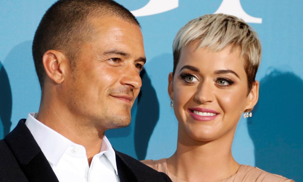 FORLOVET: Stjerneparet Orlando Bloom og Katy Perry overrasket alle ved å forlove seg på valentinsdagen. Foto: NTB scanpix