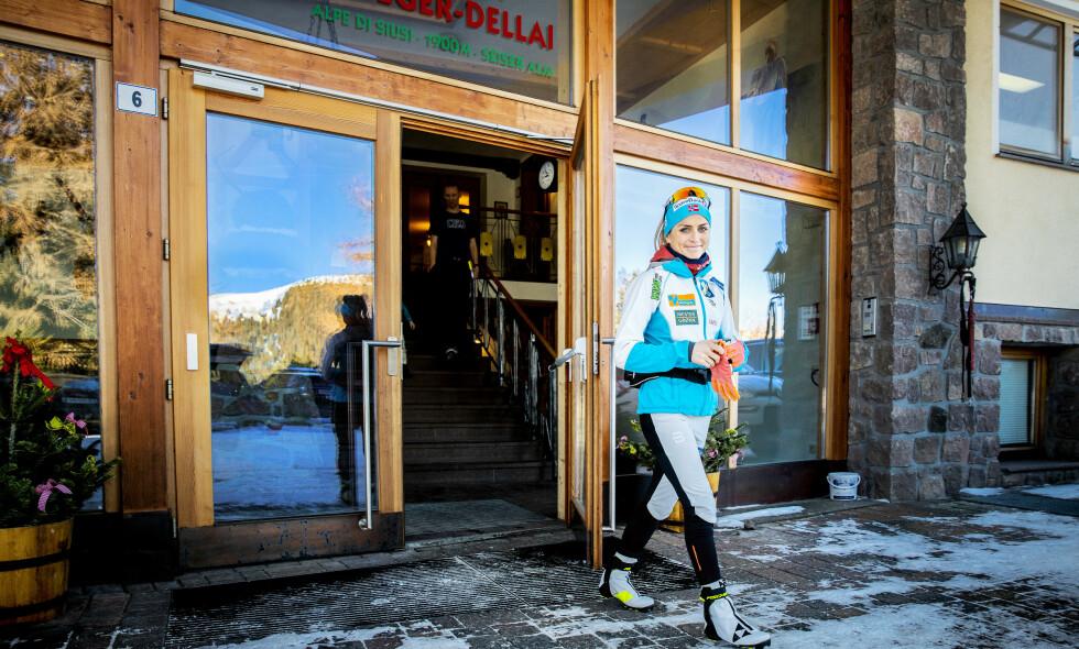 KLAR FOR VM: Therese Johaug varmet opp i Seiser Alm før helga. Der gjør hun de siste forberedelsene til det som kan bli et suksessmesterskap. Foto: Bjørn Langsem