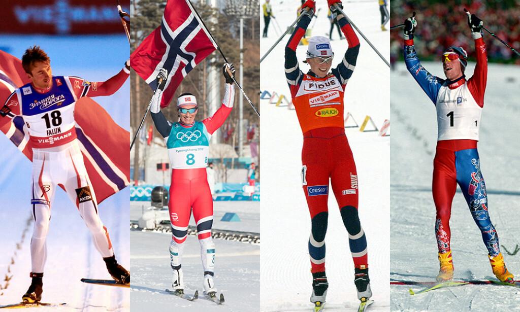 GULL-VINNERE: Her er noen av de skiløperne som kommer høyt oppe på lista. Fra venstre Petter Northug, Marit Bjørgen, Bente Skari og Bjørn Dæhlie. Foto: NTB scanpix