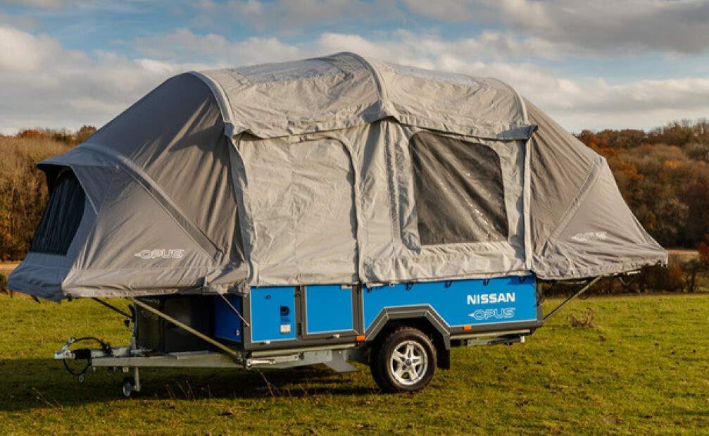 """OFF THE GRID: Ved hjelp av gamle elbilbatteriet kan denne camping""""vogna"""" klare seg sju dager uten tilkobling til strømnettet. Foto: Nissan/OPUS"""