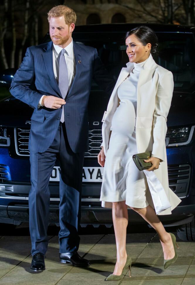 VENTER BARN: Prins Harry og hertuginne Meghan skal etter planen bli foreldre i april. Foto: NTB Scanpix