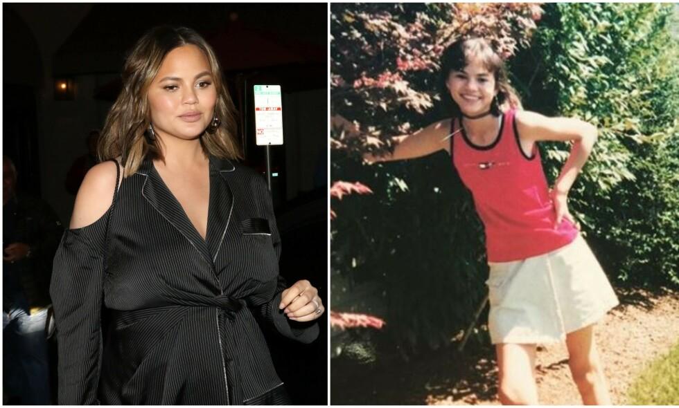 LIKE? Etter at Chrissy Teigen la ut et bilde av seg selv fra tenårene, er det flere som måper. Flere synes nemlig at hun er slående lik popsangeren Selena Gomez. Foto: NTB Scanpix / Skjermdump, Instagram