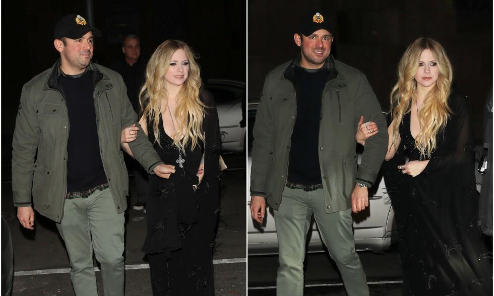 FORELSKET: Dette bildet ble tatt av Avril Lavigne og kjæresten Phillip Sarofim sist uke etter at artisten hadde gjestet Jimmy Fallons TV-show i New York. Foto: NTB Scanpix
