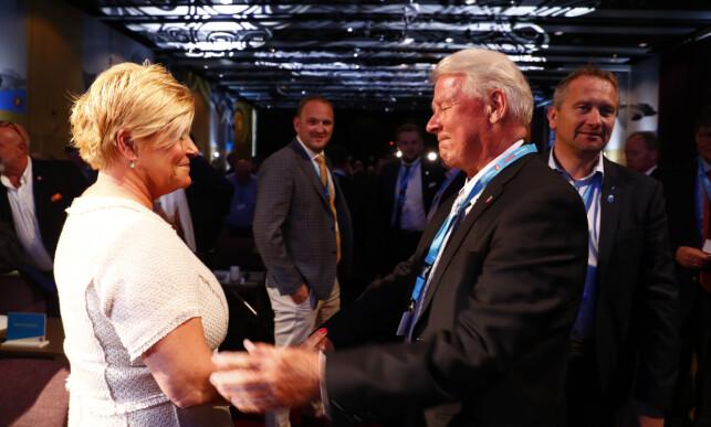 UTFORDRER: Vikarierende stortingsrepresentant Carl I. Hagen utfordrer sin egen finansminister Siv Jensen i klimaspørsmålet. Her fra Frp-landsmøtet på Gardermoen i 2017. Foto: Terje Pedersen / NTB scanpix