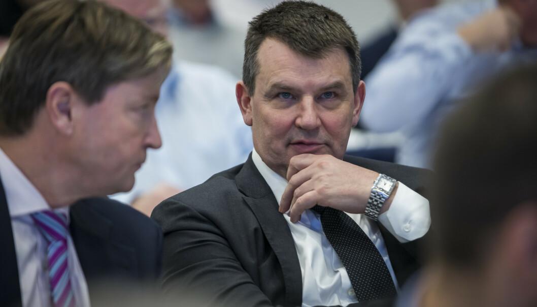 Frps utenrikspolitiske talsmann Christian Tybring-Gjedde (tv) og justisminister Tor Mikkel Vara. Foto: Heiko Junge / NTB scanpix