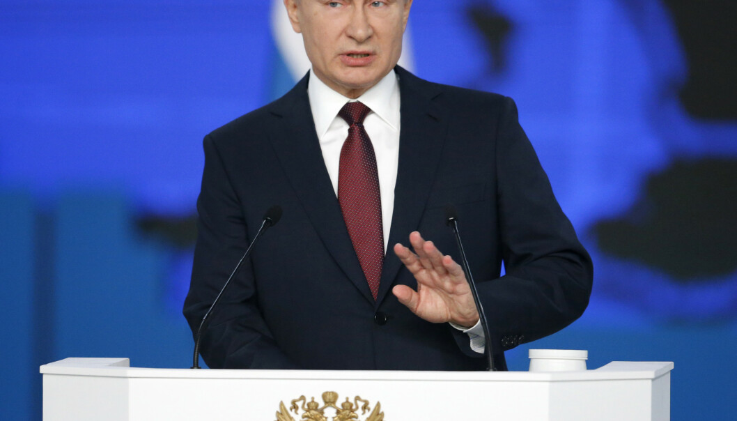 Russlands president Vladimir Putin truet med nytt atomkappløp da han holdt sin tale om rikets tilstand onsdag. Foto: AP / NTB scanpix
