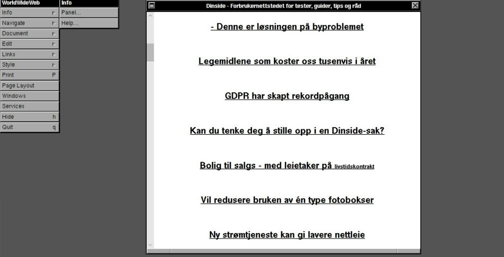 VERDENS FØRSTE: Slik ser dagens Dinside.no ut på verdens første nettleser. Foto: Skjermdump