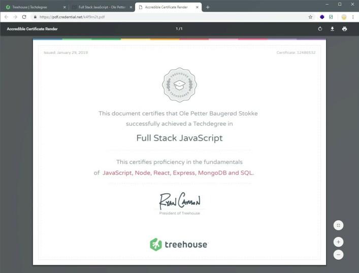 Du ender opp med et Techdegree-diplom, som dette. Treehouse påpeker også at du får en portefølje med alle prosjektene du har programmert, men selv er jeg i tvil om hvor god portefølje det egentlig er. 📸: Ole Petter Baugerød Stokke