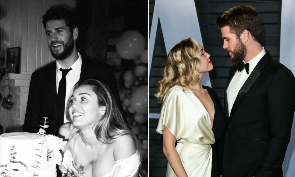<strong>GIFT:</strong> Like før jul giftet Miley Cyrus og Liam Hemsworth seg. Nå snakker hun om ekteskapet i et intervju med Vanity Fair. Foto: Skjermdump, Instagram / NTB Scanpix