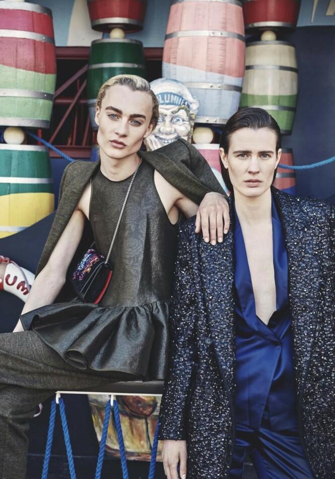 Vincent Beier (t.v.) har kledd seg i kvinneklær siden har var liten. Her sammen med den kvinnelige modellkollegaen Julier Bugge, som er kjent for sin androgyne stil. Foto: Andreas Houmann