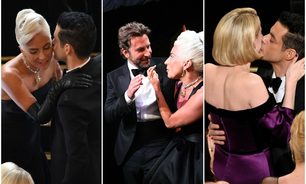 EKSKLUSIV «TRØSTEPREMIE»: Mens både Lady Gaga (t.v. og i midten) og Rami Malek (t.v. og ytterst t.h.) mottok Oscar-priser natt til mandag, mens Bradley Cooper (midten) måtte klare seg uten pris. Han gikk likevel ikke tomhendt hjem - siden han fikk en av de elleville Oscar-«goodiebagene». Foto: NTB scanpix