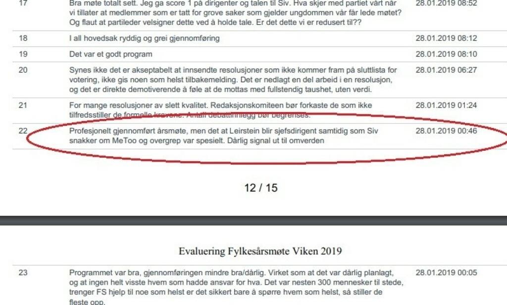 REAKSJONER: Flere i Frp reagerte tydelig i internevalueringen etter årsmøtet i Viken Frp.