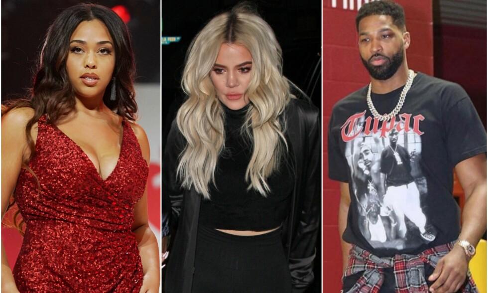 TREKANTDRAMA: F.v: Jordyn Woods, Khloé Kardashian og Tristan Thompson skaper stadig overskrifter disse dager. Foto: NTB Scanpix, Instagram/Thompson