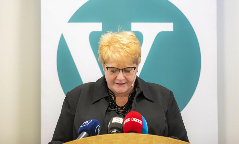 Under press: Partileder i Venstre, Trine Skei Grande, kan få en tøff helg på partiets landsmøte i Trøndelag. Foto: Håkon Mosvold Larsen / NTB scanpix
