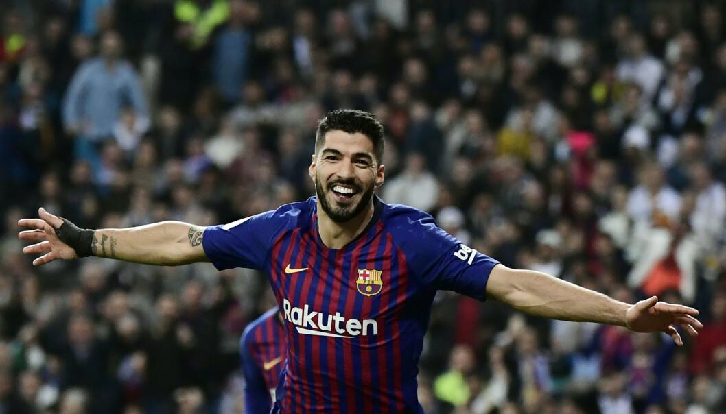 <strong>HELTEN:</strong> Luis Suarez scoret tre mål mot Real Madrid. Foto: JAVIER SORIANO / AFP / NTB Scanpix