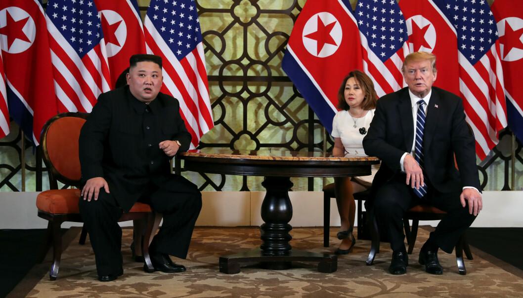 <strong>FORHANDLINGER:</strong> Onsdag delte Kim Jong-un og Donald Trump middag. Natt til torsdag startet forhandlingene. Foto: NTB Scanpix