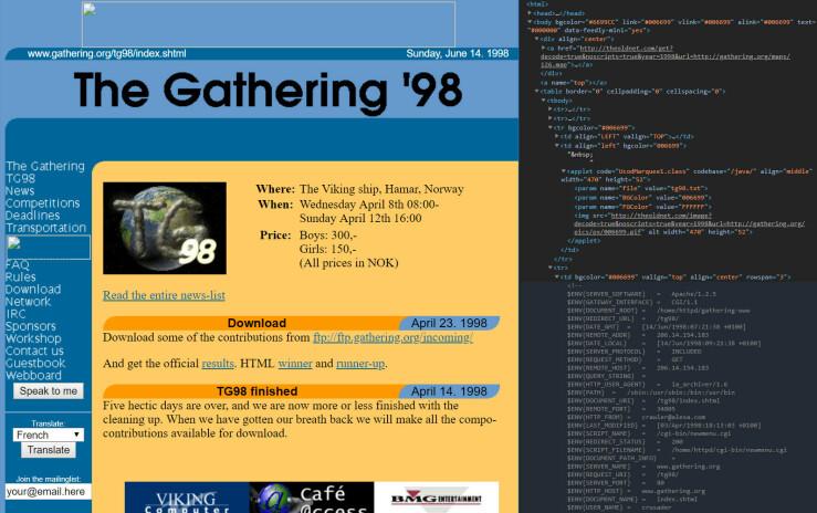 gathering.org var regnet som en meget fremoverlent webside designmessig i 1998. Den brukte tabeller som strakk seg til full bredde. Kanskje lekkert i 1998 når de fleste kjørte 800x600-oppløsning, men ikke fullt så fabelaktig i 1920x1080.