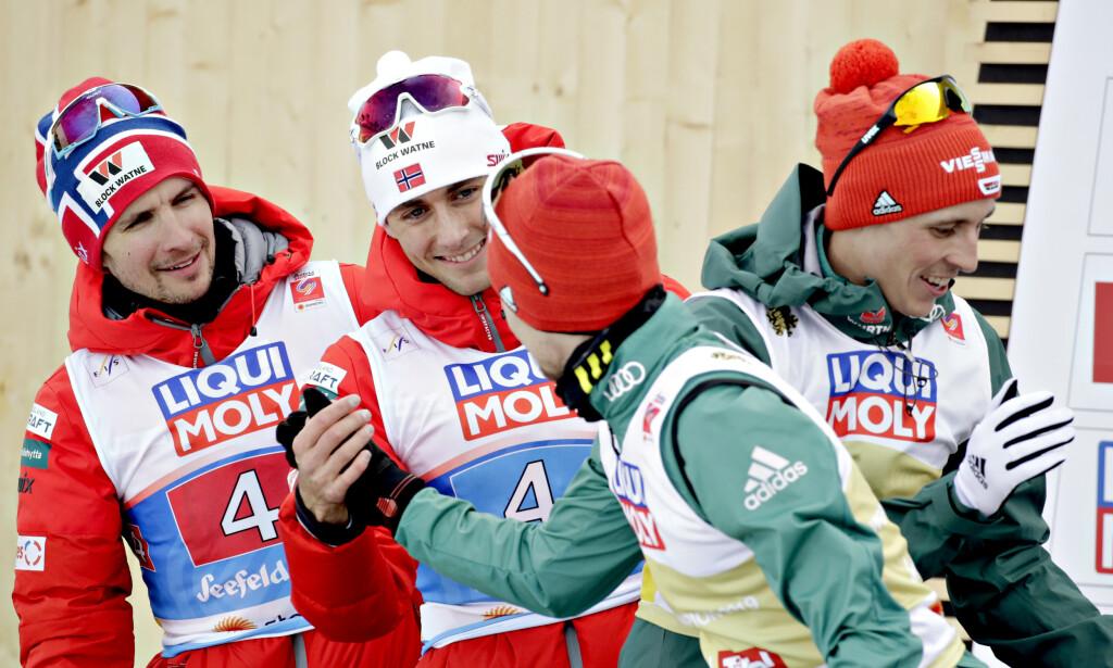 LEDER: Jarl Magnus Riiber levert bra i første omgang og leder etter hopprennet. Foto: Bjørn Langsem