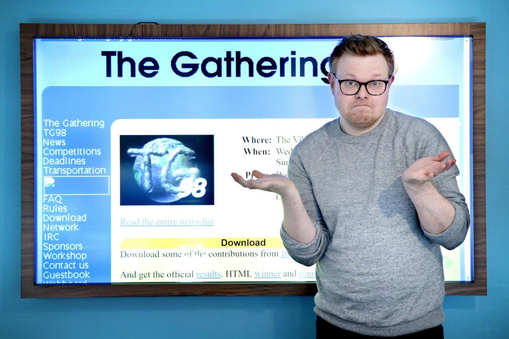 The Gathering var en av mange nettsider som baserte seg på tabeller for webdesignet sitt i 1998. 📸: Ole Petter Baugerød Stokke