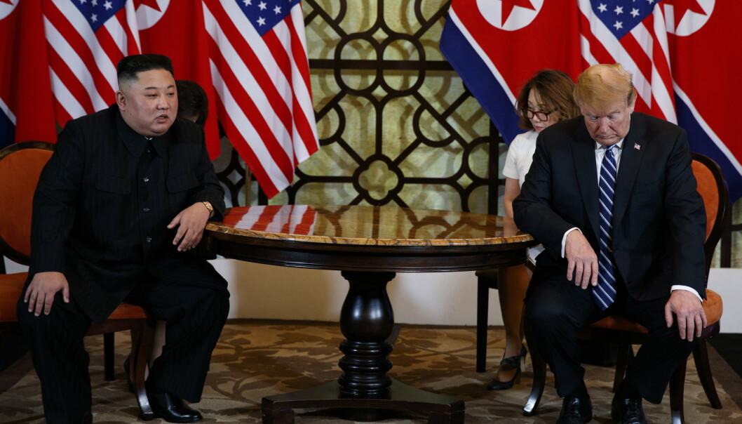 <strong>UENIGE:</strong> Nord-Korea og USA er uenige om hva førstnevnte skal ha ønsket i bytte mot atomnedrustning. Foto: AP Photo / Evan Vucci / NTB scanpix