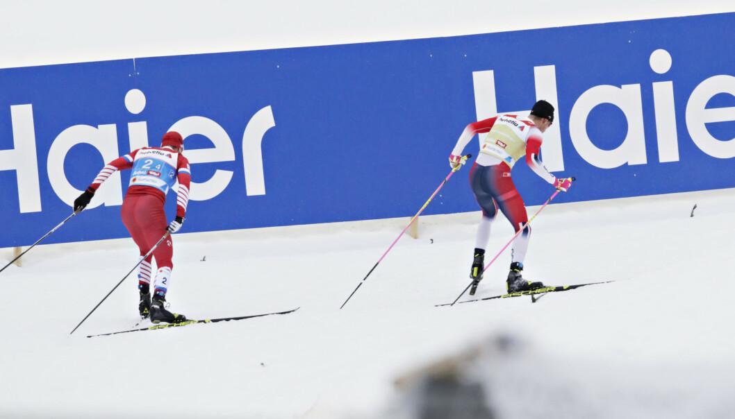 <strong>PLUTSELIG:</strong> Ut av ingen ting kollapset Sergej Usjugov på et lite Klæbo-rykk. Så vant Norge VM stafetten på nytt. FOTO: Bjørn Langsem/Dagbladet.
