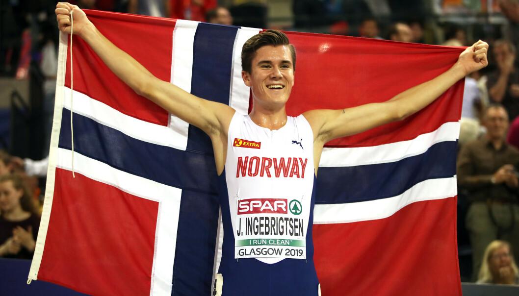 <strong>GULL:</strong> Jakob Ingebrigtsen er EM-vinner på 3000 meter innendørs. Foto. NTB scanpix