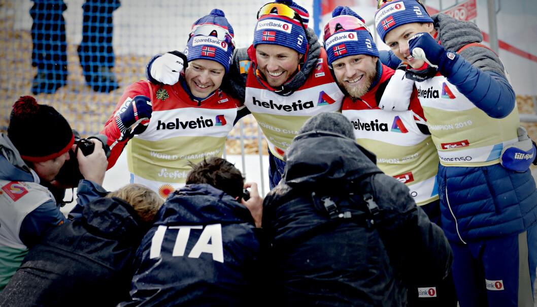 <strong>SNYTT:</strong> Totalt ti norske langrennsløpere er snytt for verdenscupseirer, pallplasser, VM-medaljer og premiepenger av Aleksej Poltoranin. Tre av dem er på dette bildet. Foto: Bjørn Langsem / Dagbladet