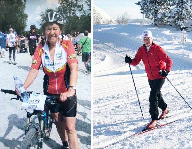 SOMMER SOM VINTER: Når det ikke er snø bruker Liv Astri skogen flittig, både til fots og på sykkel. Hun har gjennomført Sykkel-Birken 25 ganger. Bildet til venstre er tatt etter et sykkelløp. FOTO: Privat / Malini Gaare Bjørnstad // KK