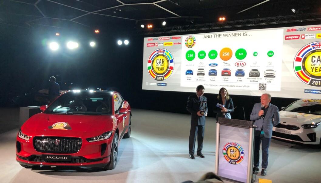ÅRETS BIL: Jaguar I-Pace stakk av med seieren med knappest mulig margin i Årets Bil Europa 2019: Foto: Fred Magne Skillebæk