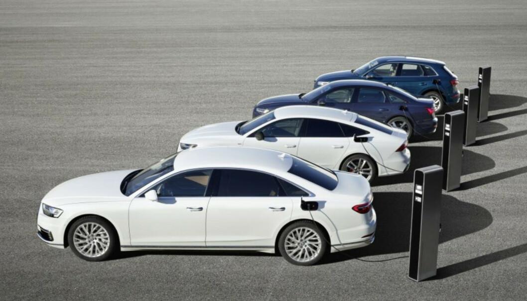 <strong>TFSI e:</strong> Audi kommer med ikke mindre enn fire nye ladbare hybridbiler: A8, A6, A7 Sportback og Q5. De nye ladbare bilene til Audi vil heretter hete TFSI e. Foto: Audi