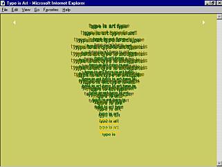 Her er ett av kunstverkene Simon Daniels i Microsoft lagde med det da ganske nye CSS-språket, i 1996. 📸: Simon Daniels / Håkon Wium Lie