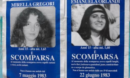 FORSVANT PÅ SAMME TID: Emanuela Orlandi og Mirella Gregori. Foto: NTB Scanpix