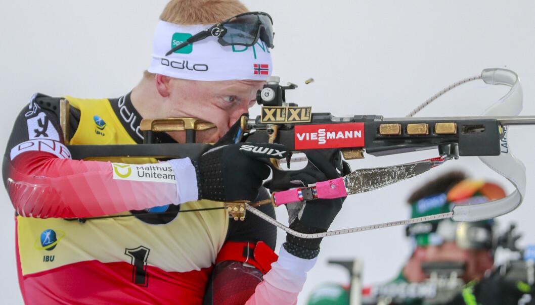 Johannes Thingnes Bø har mål om å gå de samtlige sju VM-øvelsene. Her fra tidligere renn i Antholz, Italia. Foto: Heiko Junge / NTB scanpix